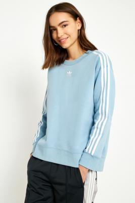 Adidas - adidas Originals Blue 3-Stripe Jumper, Light Grey