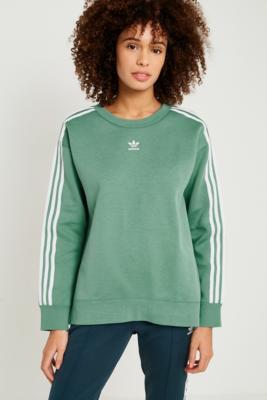 Adidas - adidas Originals Green 3-Stripe Sweatshirt, Green