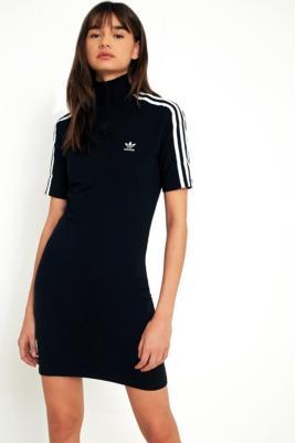 Adidas Originals - adidas Originals 3-Stripe Half-Zip Mock Neck Dress, Black