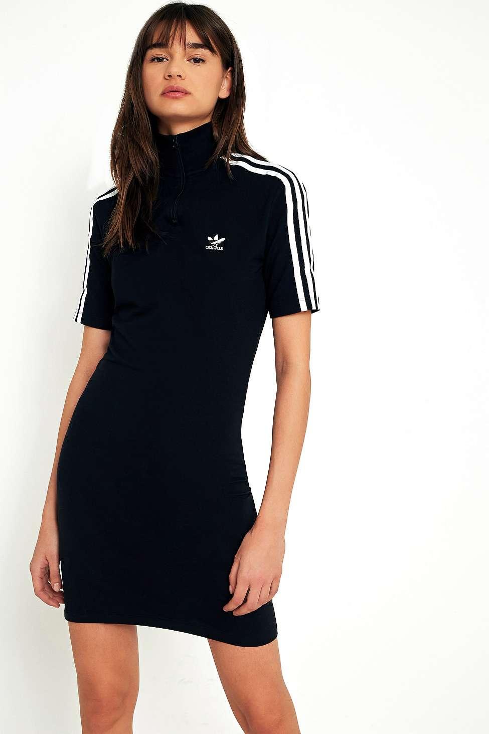 Adidas originali 3 righe in giro vestito metà zip collo urban outfitters