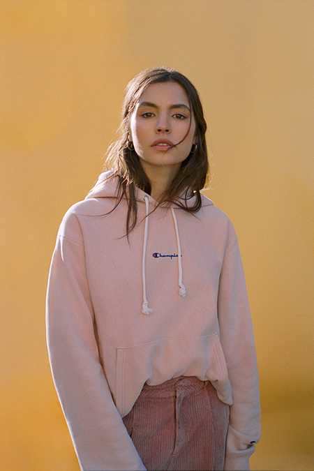 Champion - Sweat à capuche vieux rose