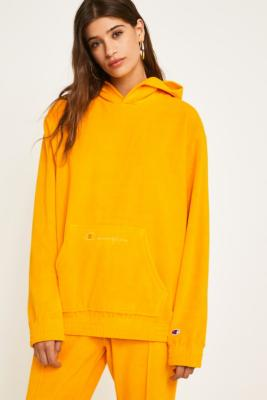 Champion Yellow Heavy Velour Hoodie by Champion