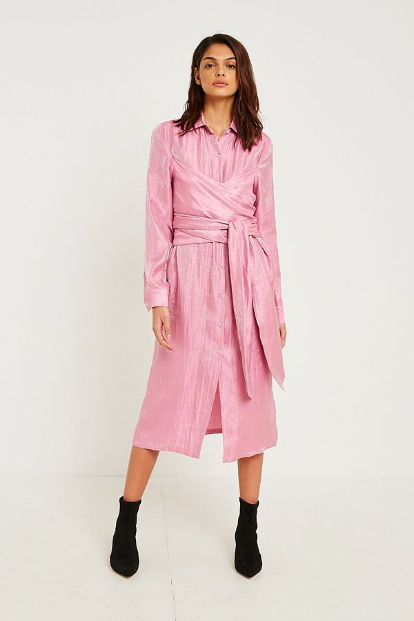 Fleamadonna Twist Pink Shirt Dress | Urban Outfitters