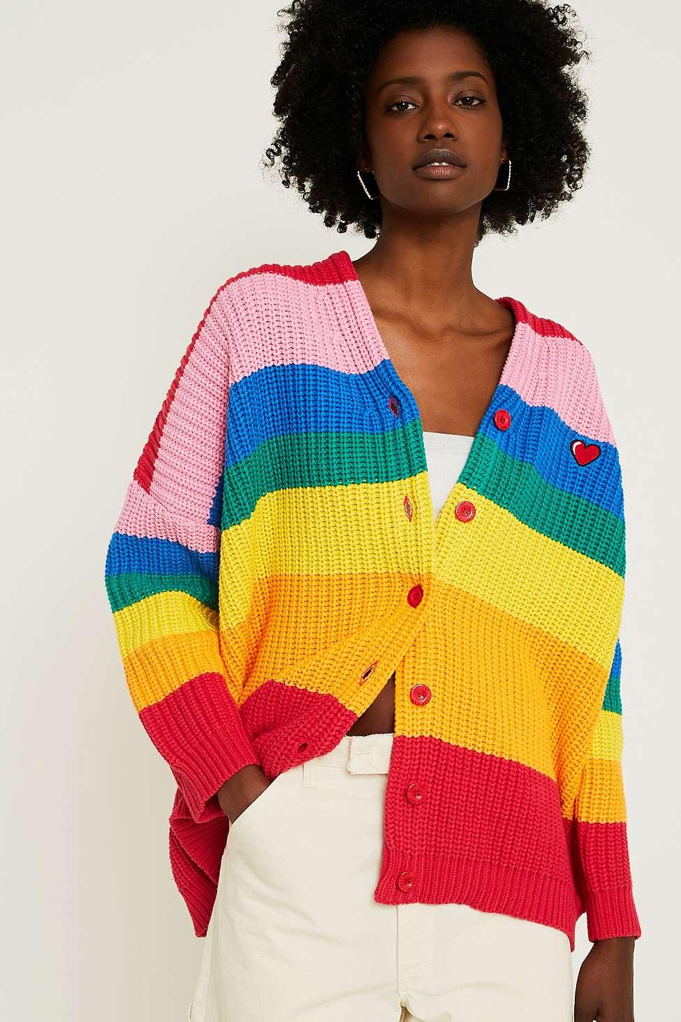 Lazy Oaf Boring Rainbow Stripe Cardigan Urban Outfitters Uk