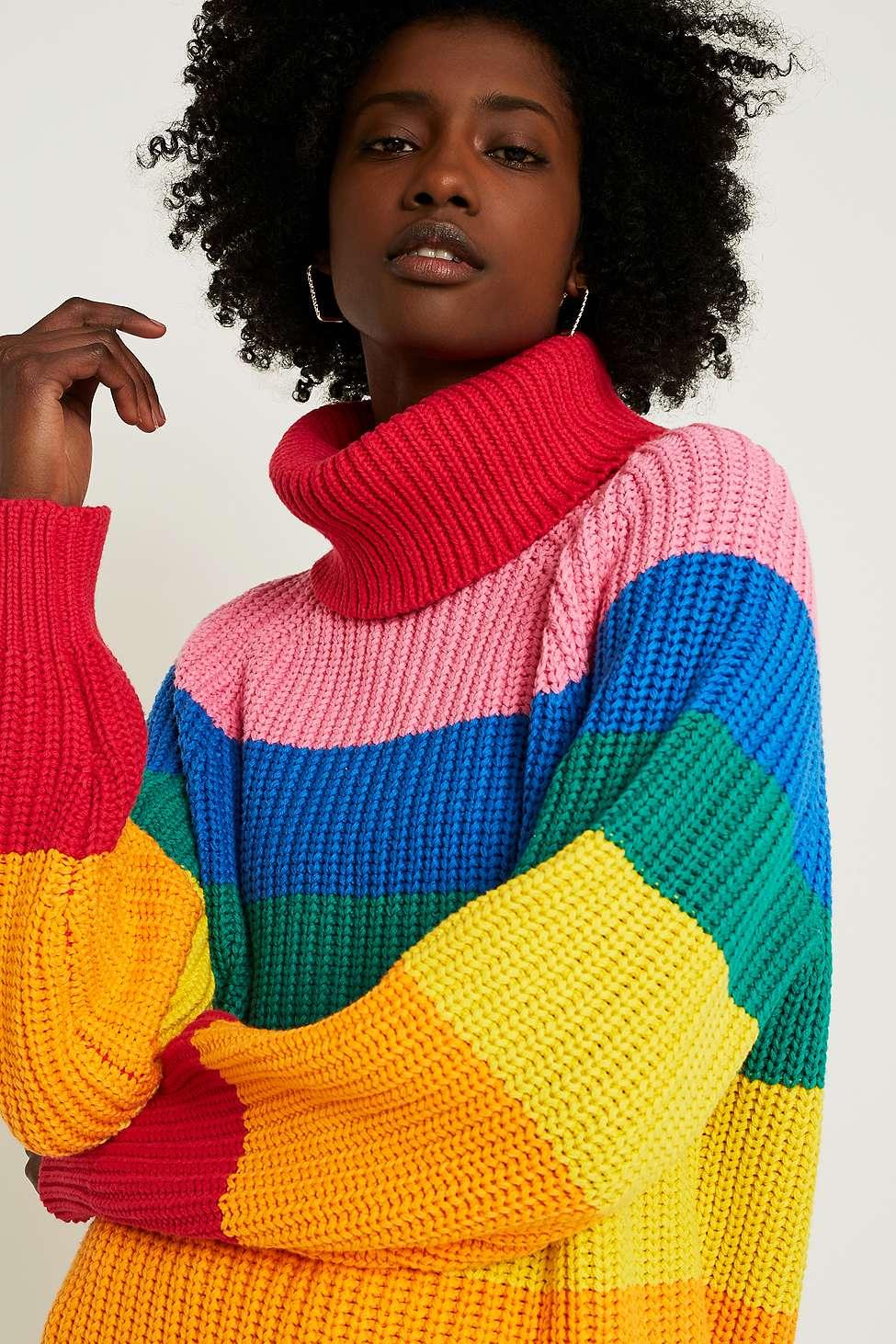 Lazy Oaf Rainbow Stripe Roll Neck Knit Jumper Urban Outfitters Uk