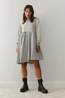 Lazy Oaf Mix And Match Sweat Dress - Grey UK 6 at Urban Outfitters