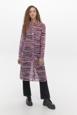 Lazy Oaf X The Flintstones Sheer Shirt Dress - Assorted UK 8 at Urban Outfitters