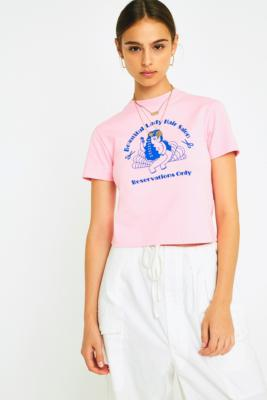 Lazy Oaf Long Hair Don't Care Pink T Shirt by Lazy Oaf