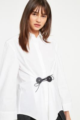 Mm6 White Button Down Tie Front Shirt by Mm6 Maison Margiela