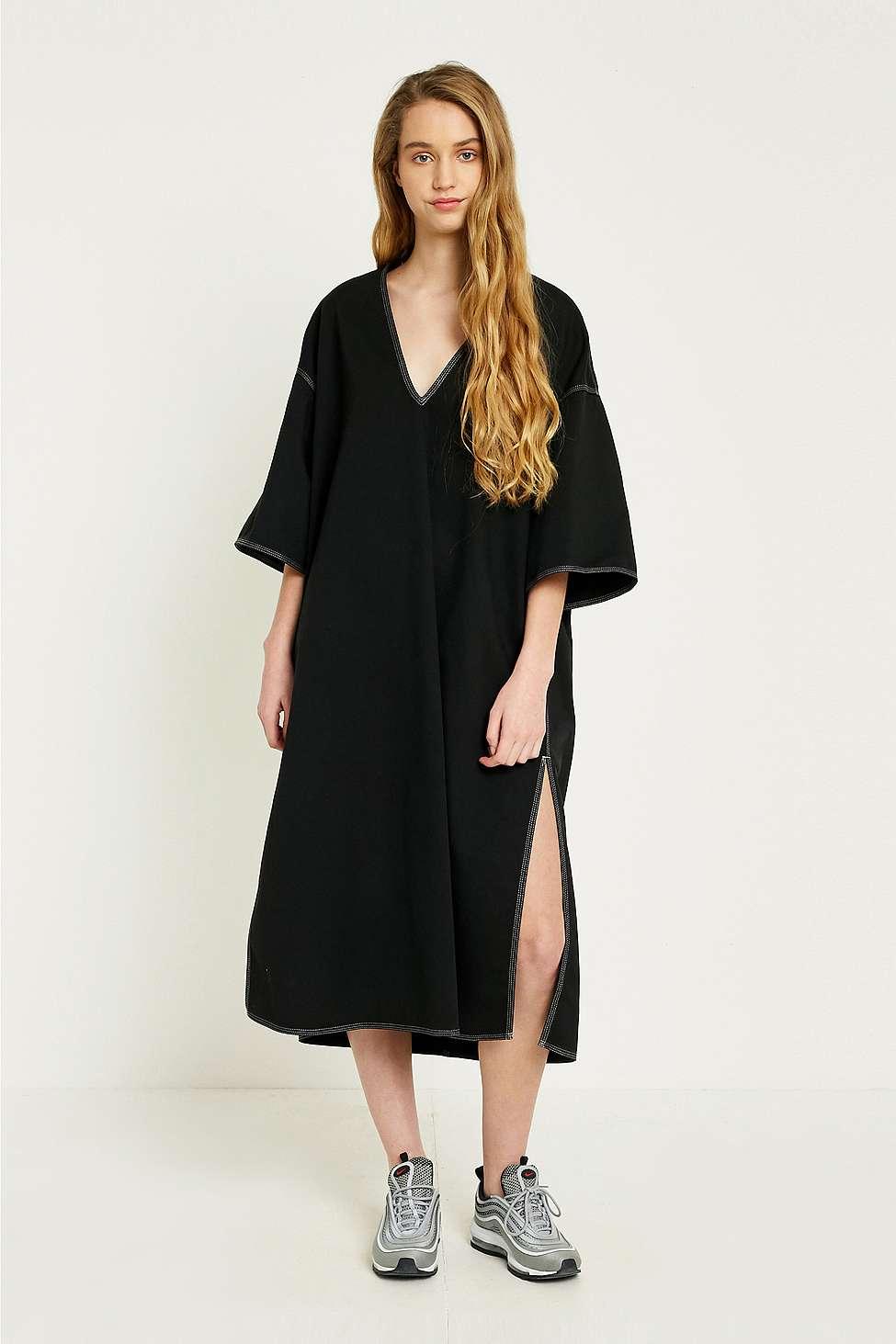 MM6 Contrast Stitch Tunic Dress, Black