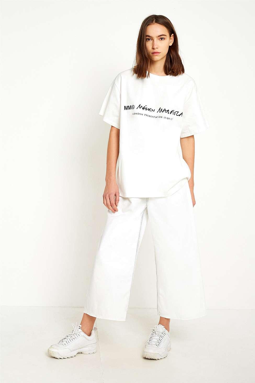 MM6 White Oversized Contrast Stitch Culottes, White