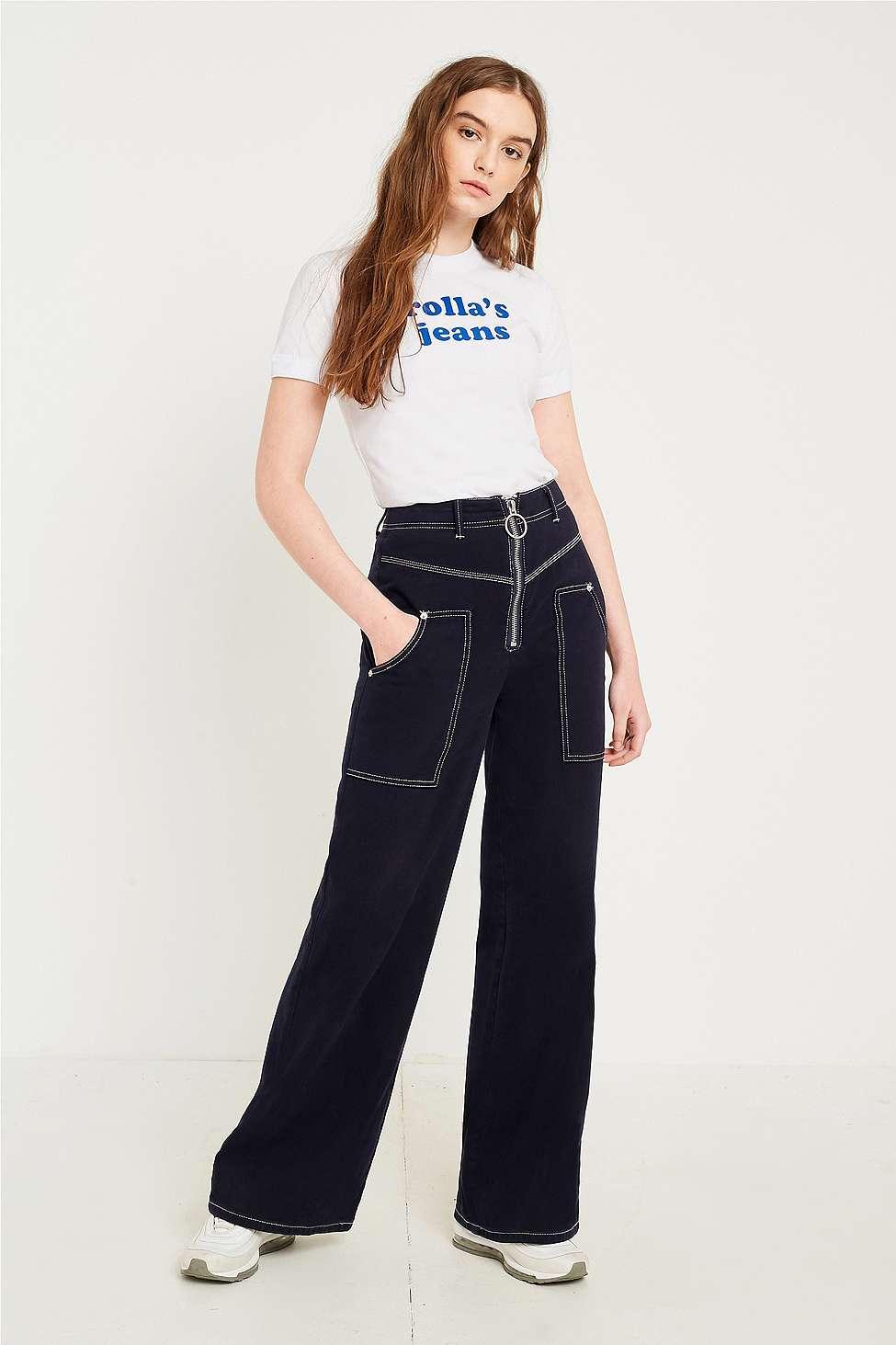 Rolla's Jeans Flocked Logo T-Shirt, White