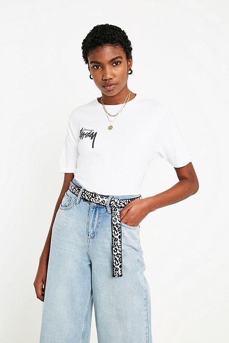 7984b047802fa Stussy - T-shirt Stock à logo blanc