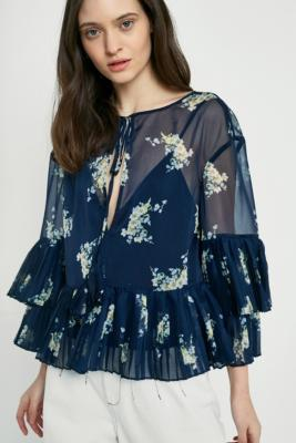 Stevie May - Stevie May Midnight Blooms Long-Sleeve Top, blue