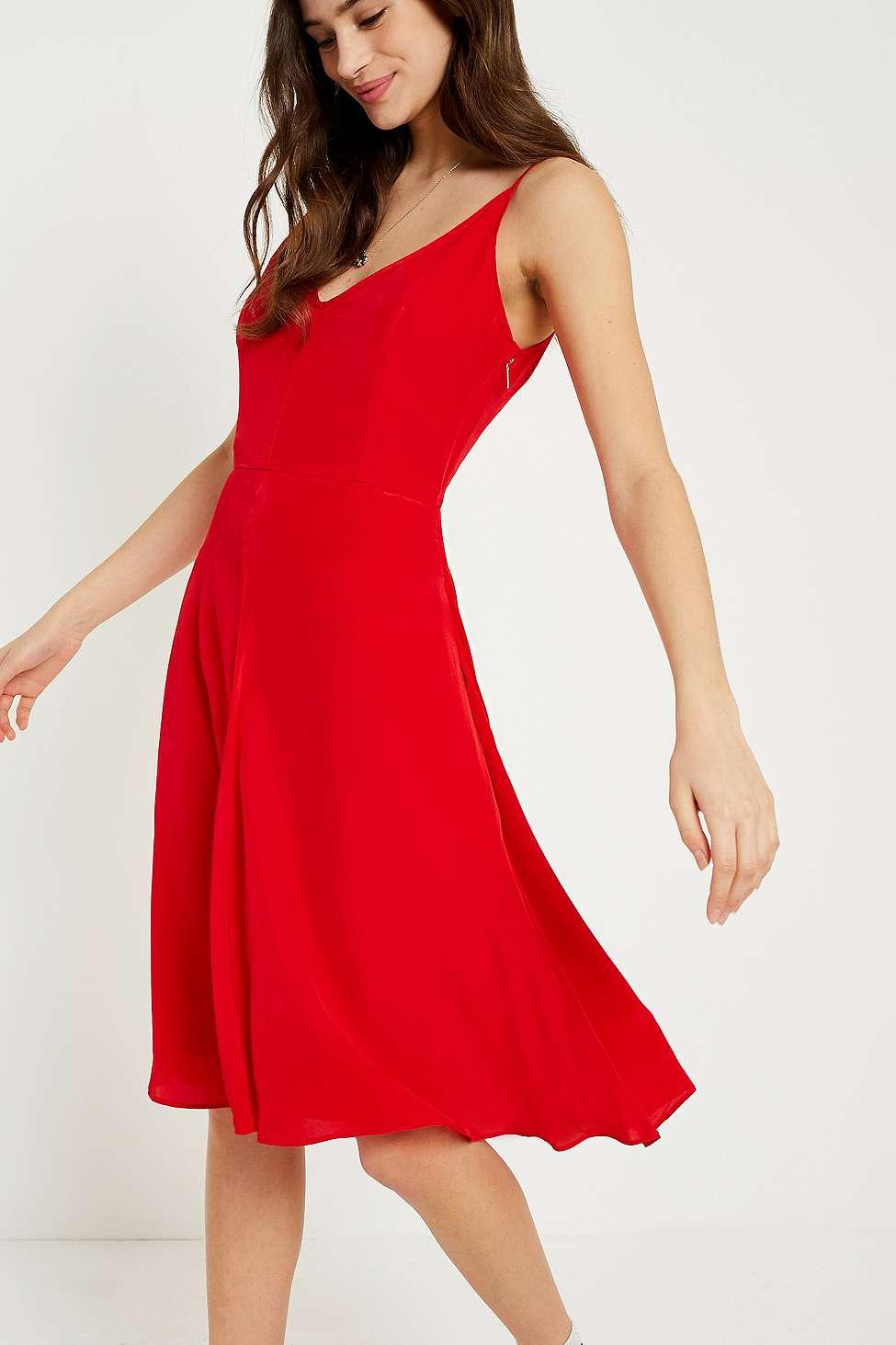 Calvin Klein Red Crepe Slip Dress, Red