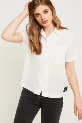 Calvin Klein Drapey Button Through Shirt by Calvin Klein