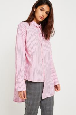 Gestuz - Gestuz Amatistripe Asymmetric Button-Down Shirt, Pink