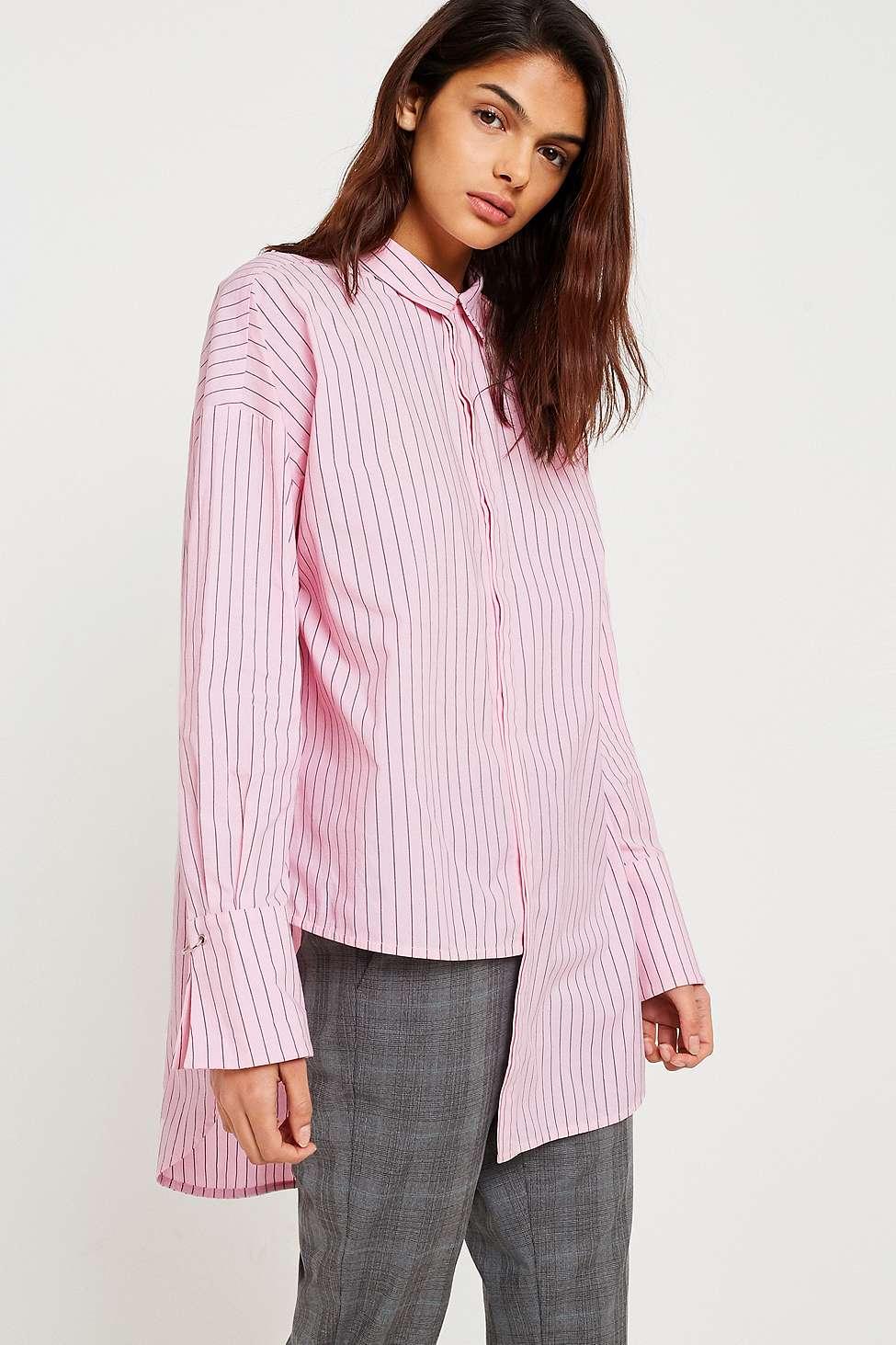 Gestuz Amatistripe Asymmetric Button-Down Shirt, Pink