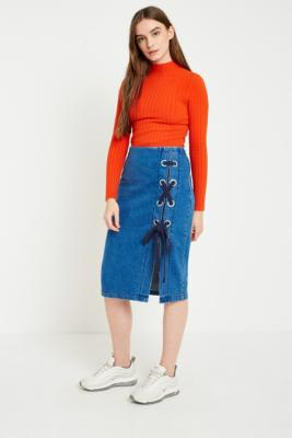 Gestuz - Gestuz Deona Denim Lace-Up Skirt, Indigo