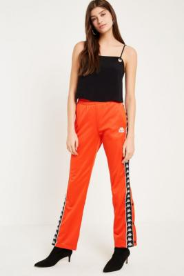 Kappa - Kappa Orange Taping Popper Track Trousers, Orange