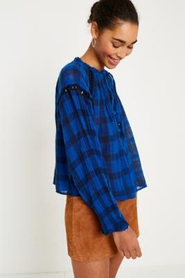Free People - Free People Honey Grove Blue Checked Top, blue