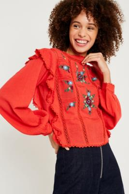 Free People - Free People Amy Red Floral Embroidered Top, Red