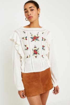 Free People - Free People Amy Floral Embroidered Top, Cream