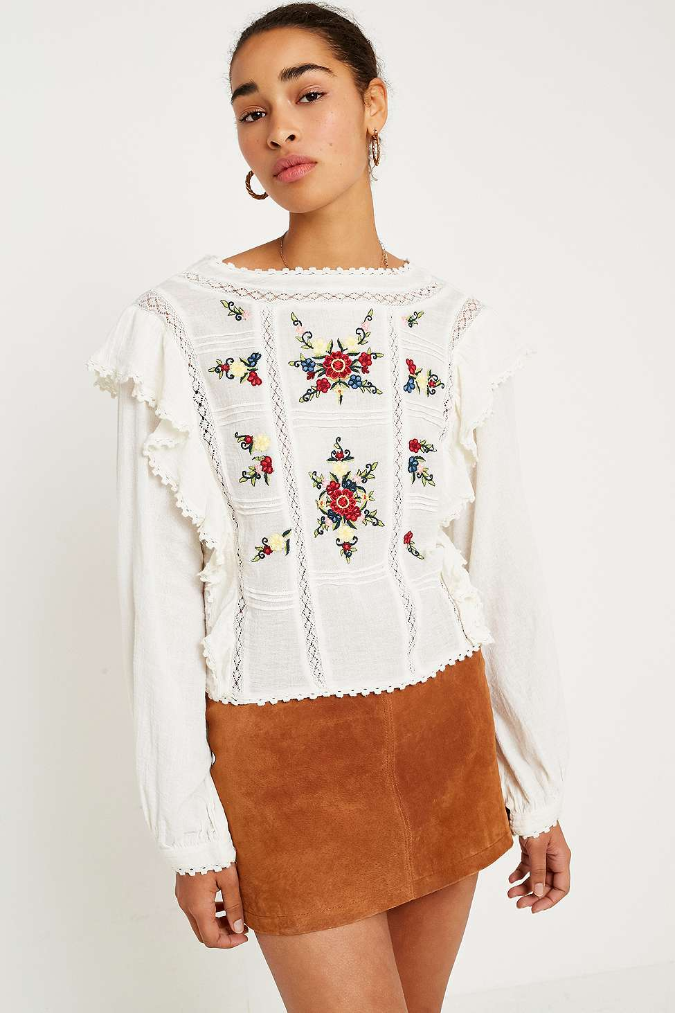 Free People Amy Floral Embroidered Top, Cream
