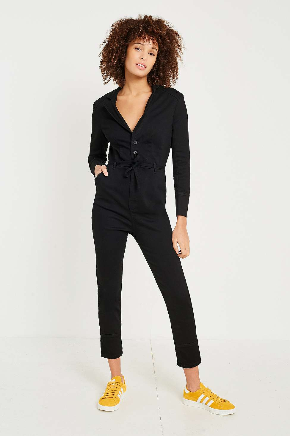 Free People Take Me Out Fitted Jumpsuit, Black