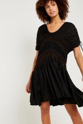 Free People - Free People Rainbow Smocked Black Dress, Black