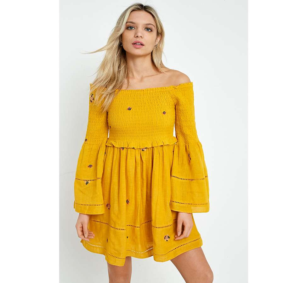 Slide View: 1: Free People Counting Daisies Yellow Embroidered Off-the-Shoulder Dress