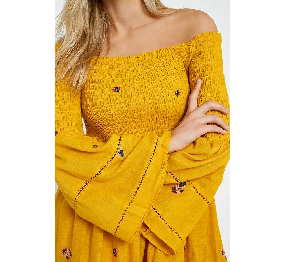 Slide View: 2: Free People Counting Daisies Yellow Embroidered Off-the-Shoulder Dress