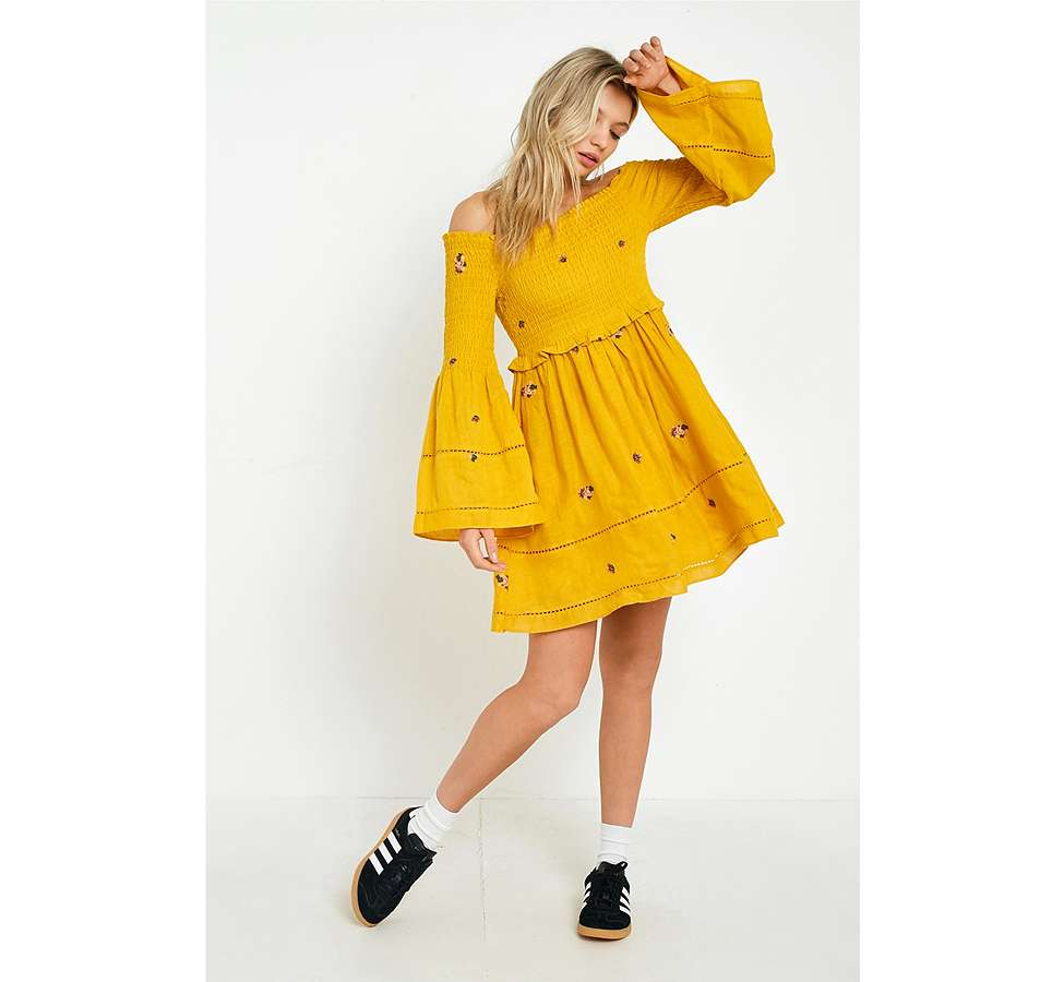 Slide View: 3: Free People Counting Daisies Yellow Embroidered Off-the-Shoulder Dress