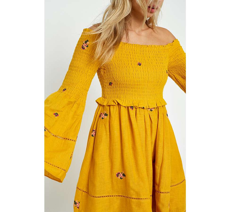 Slide View: 4: Free People Counting Daisies Yellow Embroidered Off-the-Shoulder Dress