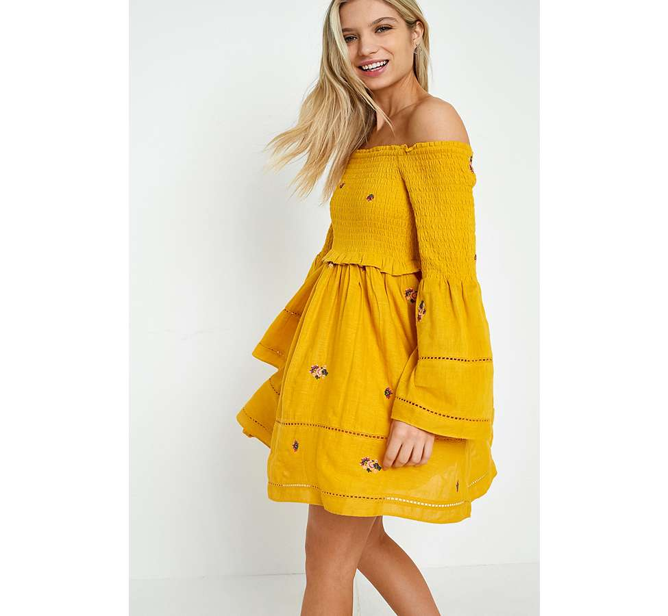 Slide View: 5: Free People Counting Daisies Yellow Embroidered Off-the-Shoulder Dress