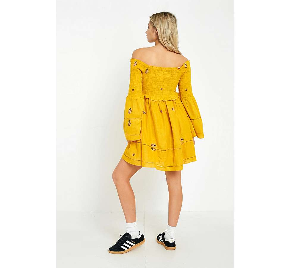 Slide View: 6: Free People Counting Daisies Yellow Embroidered Off-the-Shoulder Dress