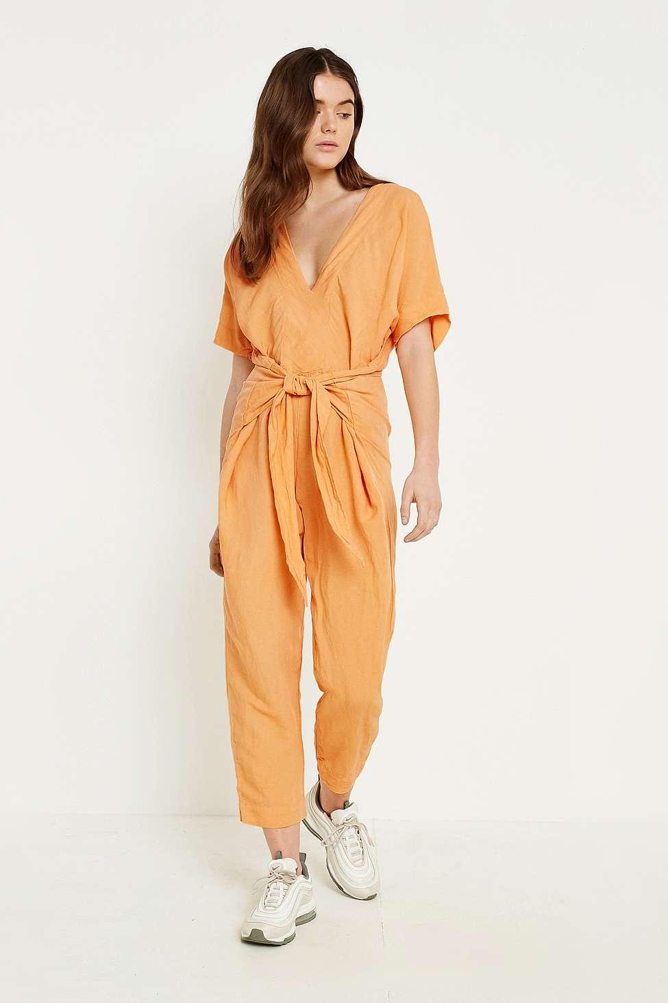 Free People Shining Sun Orange Tie-Front Jumpsuit, Orange