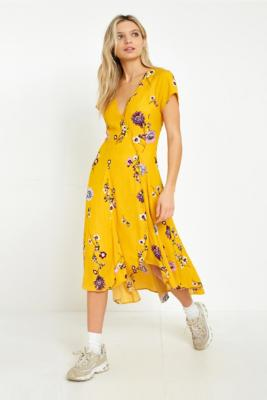 Free People - Free People Lost In You Yellow Floral Midi Dress, Yellow