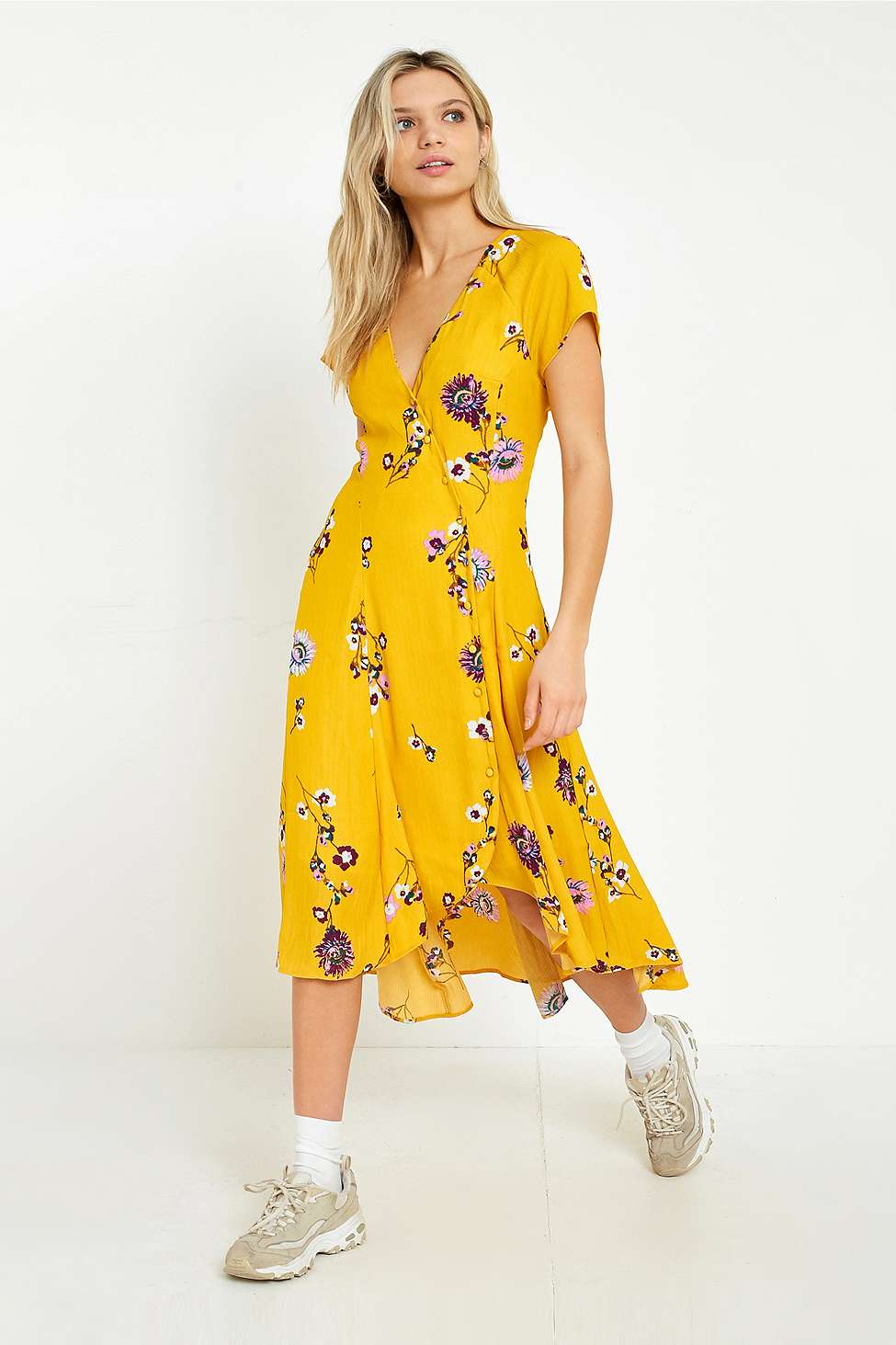 Free People Lost In You Yellow Floral Midi Dress, Yellow