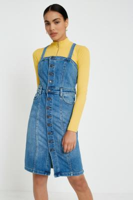 Free People - Free People Denim Button-Front Pinafore Dress, Blue