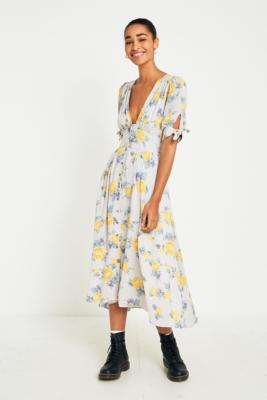 Free People - Free People Love of My Life Printed Midi Dress, Assorted
