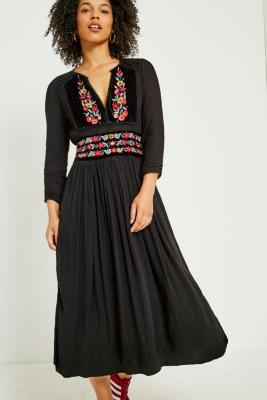 Free People - Free People Flora Embroidered Floral Midi Dress, Black