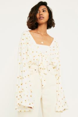 Free People Forties Feels Cream Printed Bodysuit by Free People