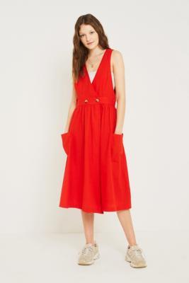 Free People - Free People Diana Wrap Midi Dress, red