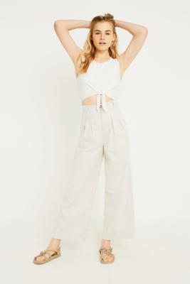 Free People - Free People River Winds Pleated Trousers, beige