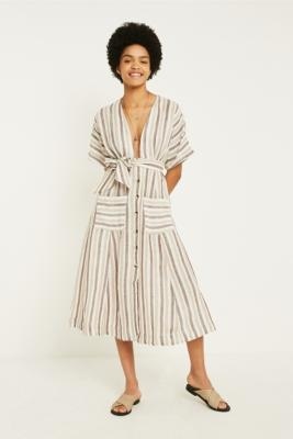 Free People - Free People Monday Stripe Midi Dress, grey