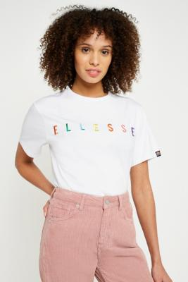Ellesse - Ellesse White Rainbow Embroidered Logo T-Shirt, White
