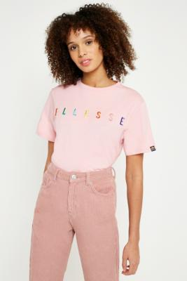 Ellesse - Ellesse Pink Rainbow Embroidered Logo T-Shirt, Pink