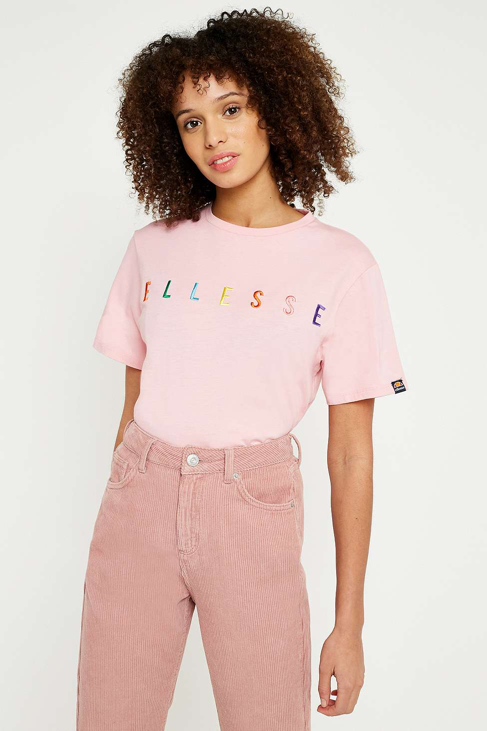 Ellesse Pink Rainbow Embroidered Logo T-Shirt, Pink