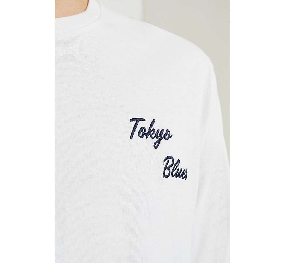 Slide View: 5: Edwin Tokyo Blues Embroidered White Long-Sleeve T-Shirt